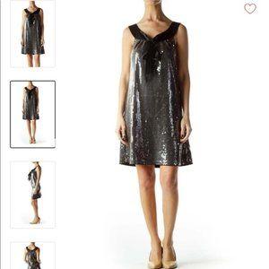LaRok Sequin Sheath Dress w/ Tie Front